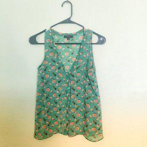 Soprano summer fruit sheer sleeveless  blouse